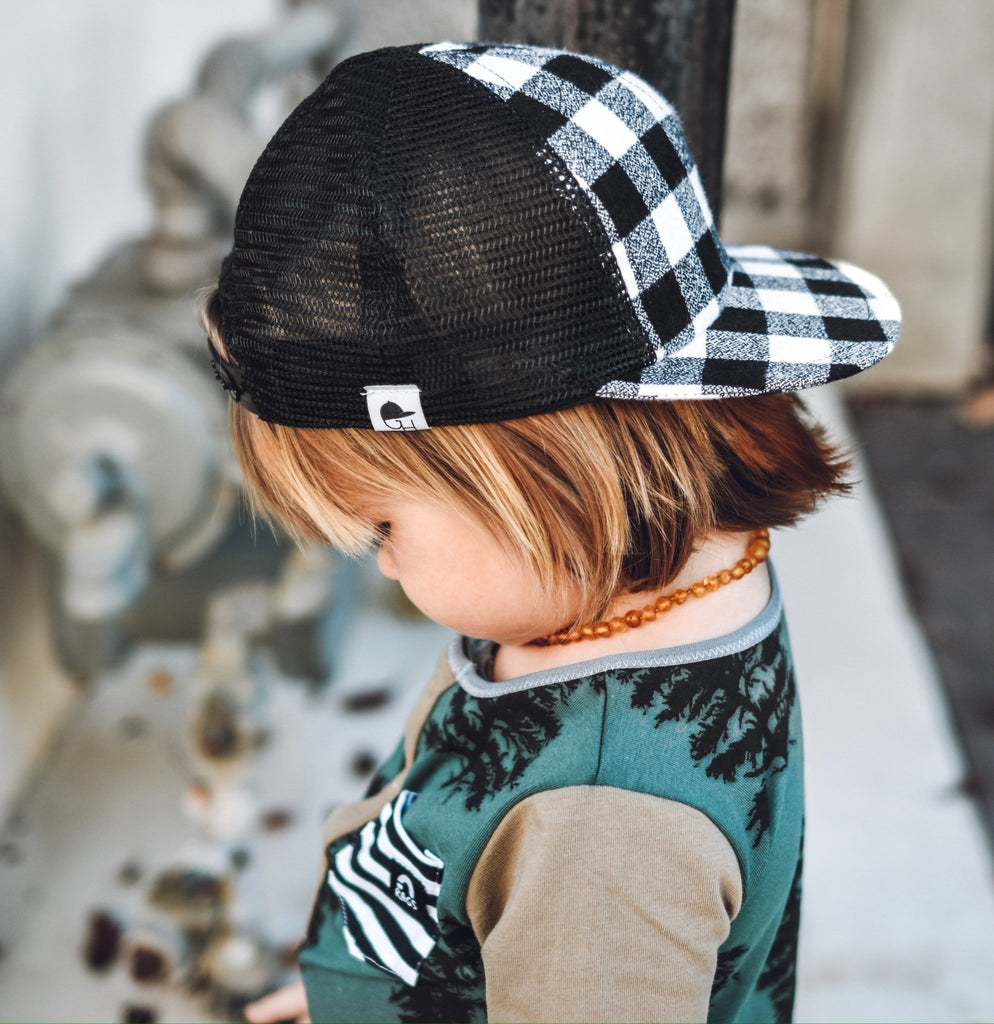Black White Plaid Trucker For Kids - George Hats