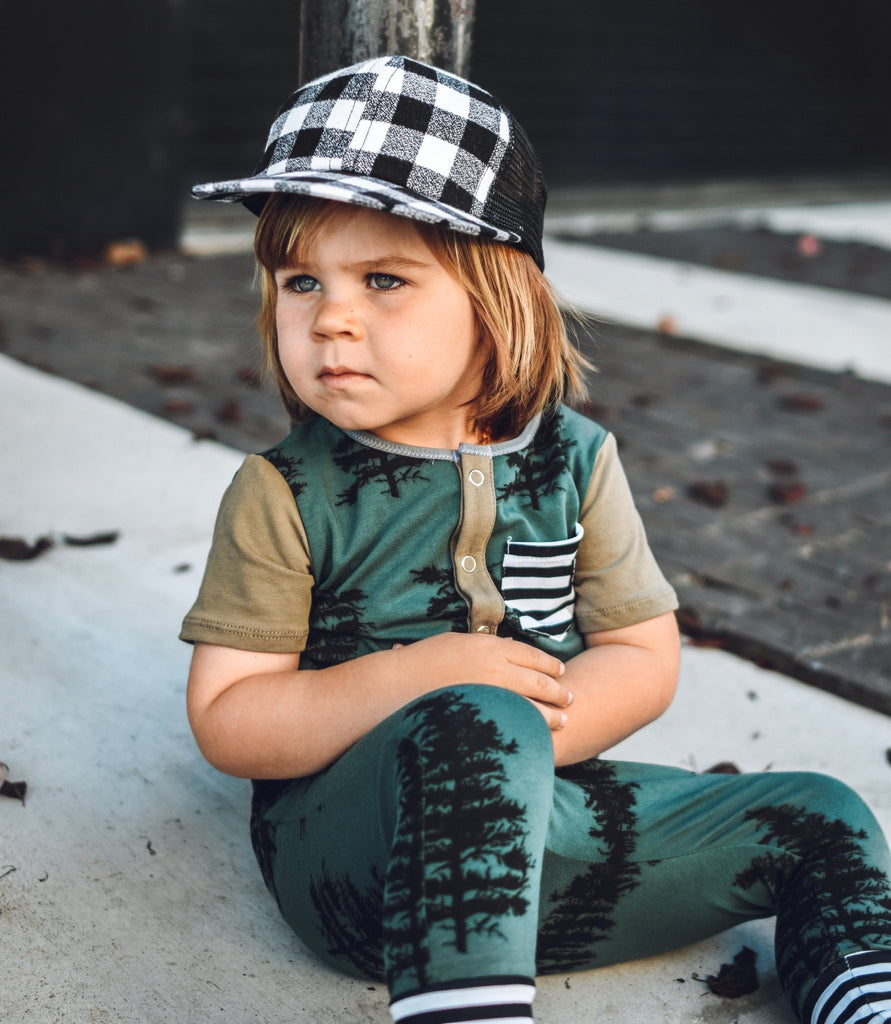 Black White Plaid Trucker For Toddlers - George Hats