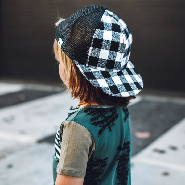 Black White Plaid Trucker by George Hats
