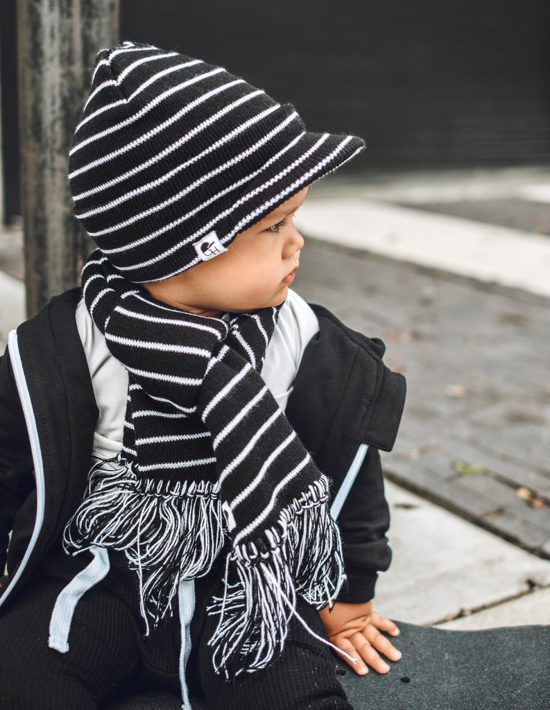 Black White Stripe Kids Scarf - George Hats