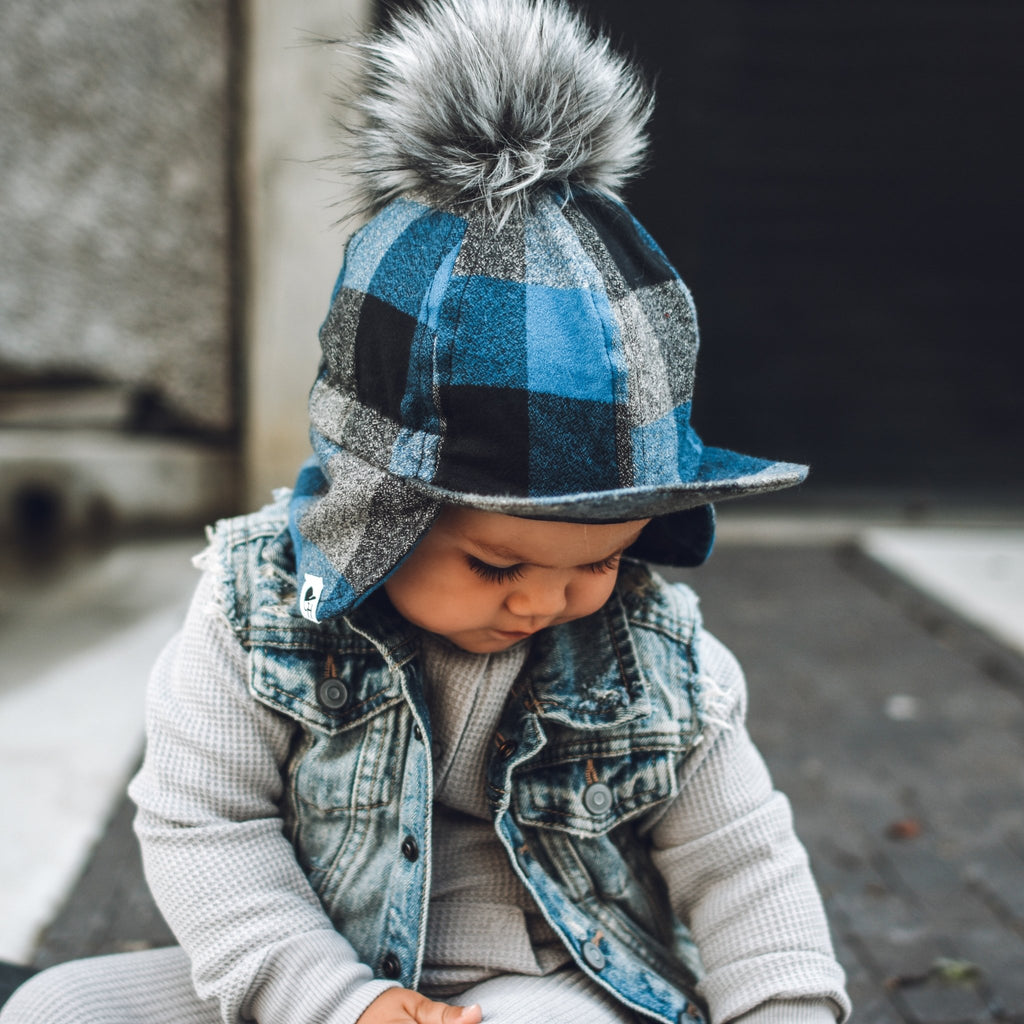 Blue Plaid Flannel Hat - George Hats