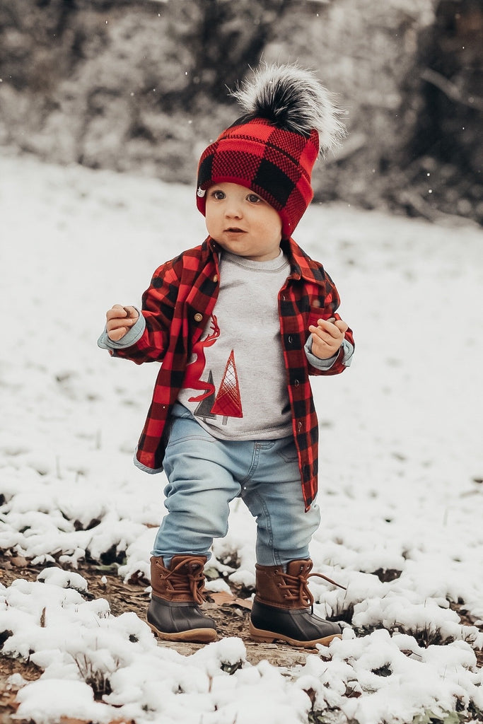 Buffalo Plaid Beanie For Toddlers - George Hats