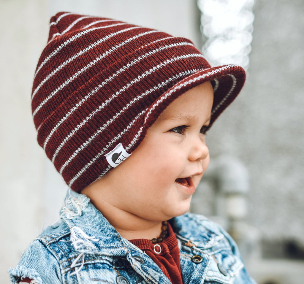 Burgundy Stripe Visor Beanie - George Hats