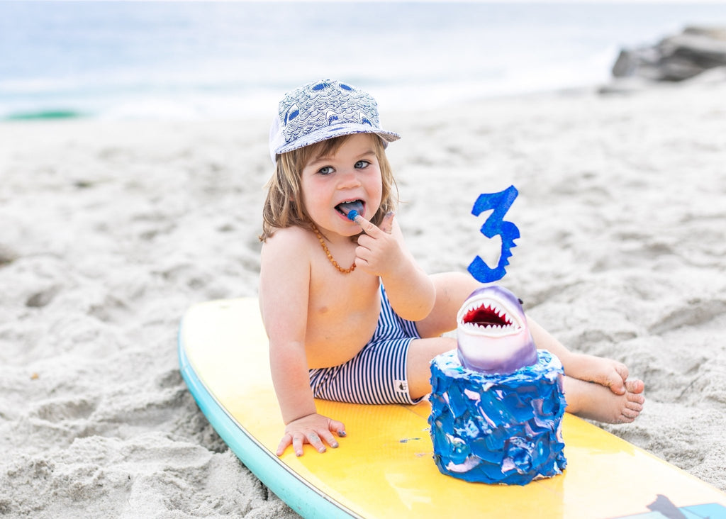 Image of Navy Stripe Swim Shorts from George Hats with birthday cake