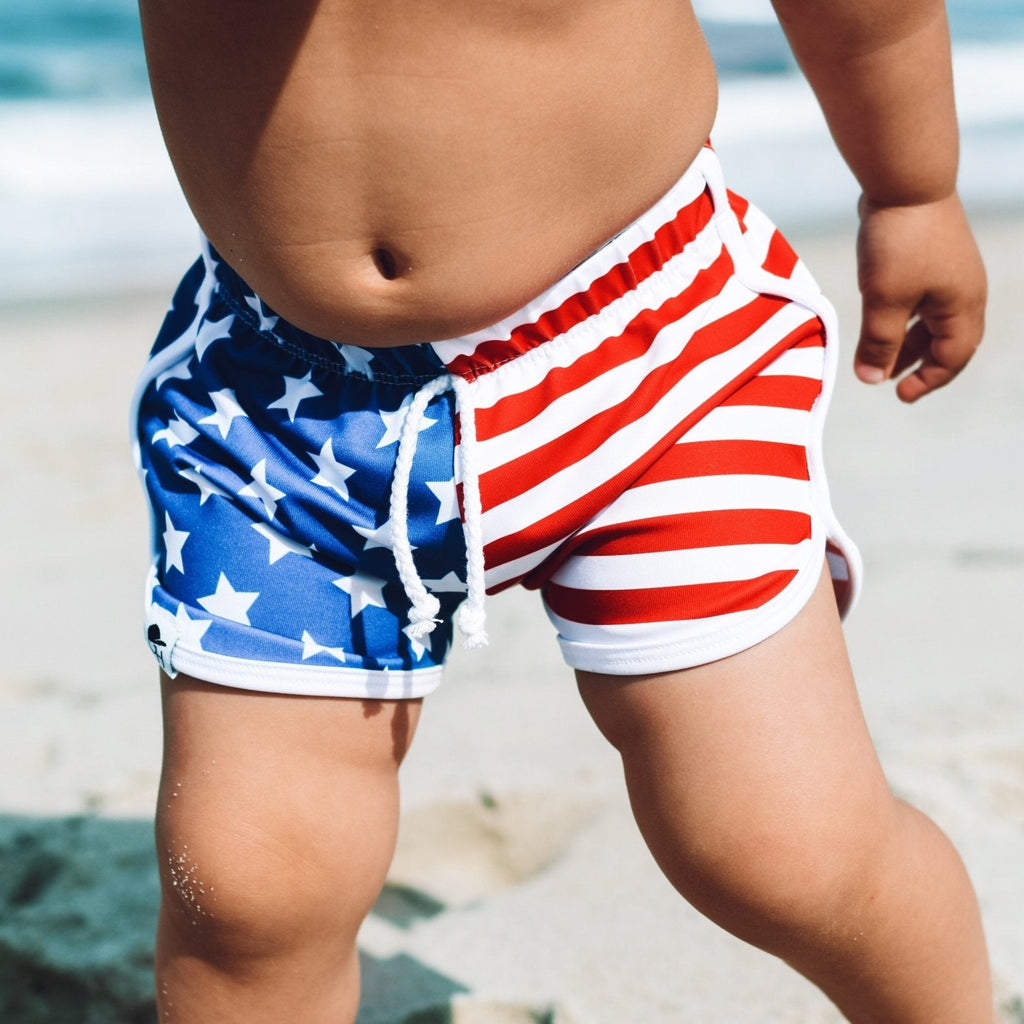 Pre-Order Stars and Stripes Track Swim Shorts - George Hats