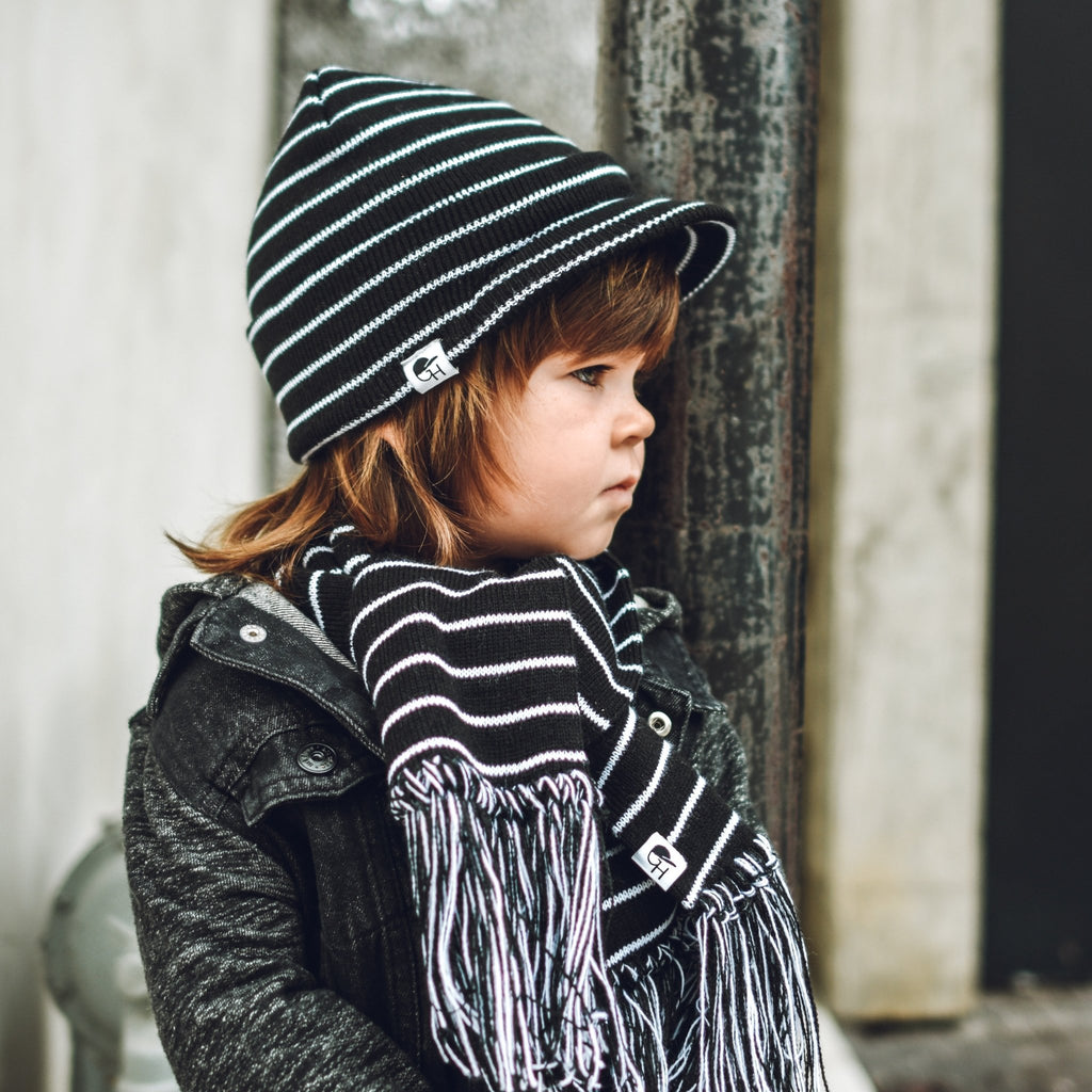 Stripe Black White Visor Beanie - George Hats