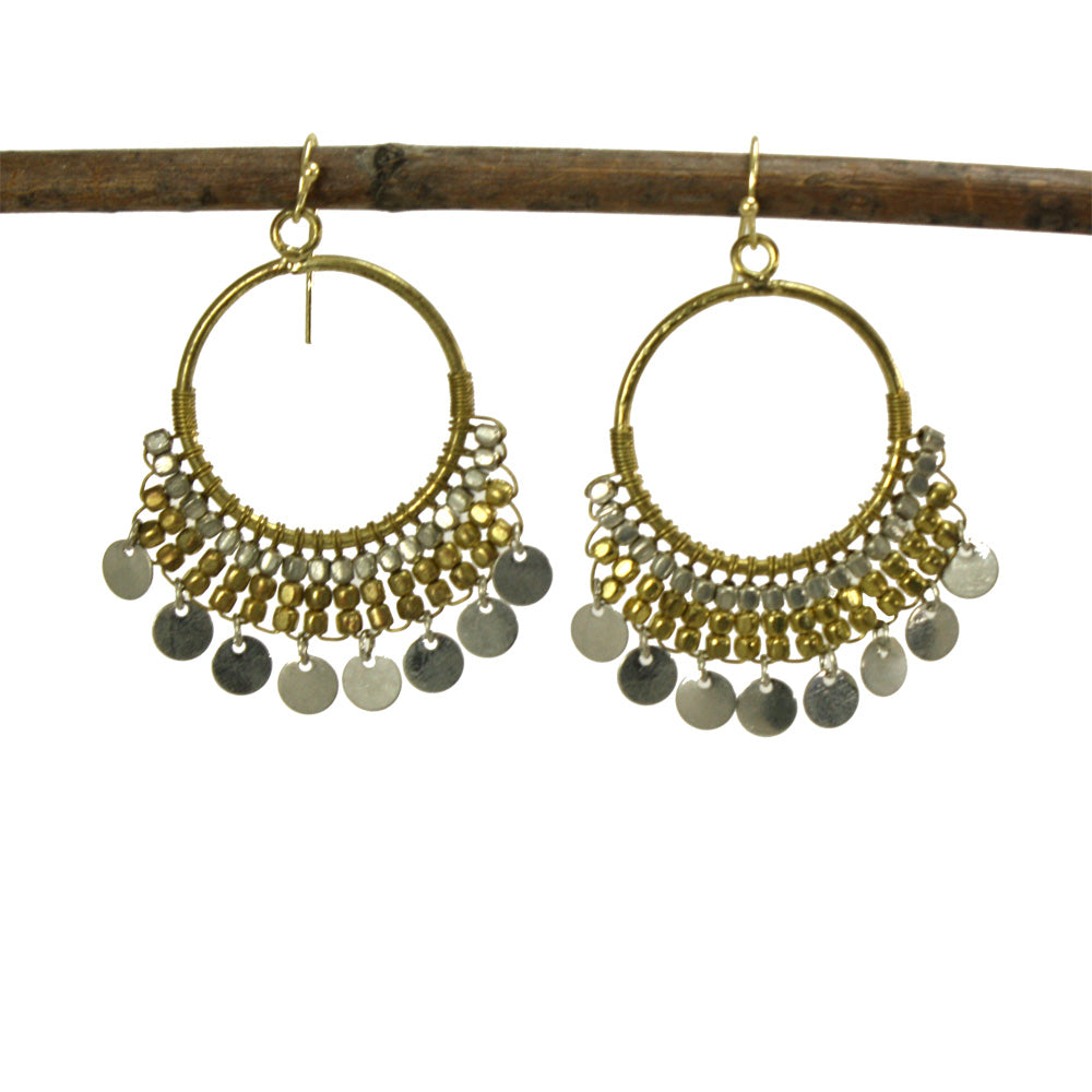 These danglys are sure to turn heads! Silver-tone metallic discs drop from a crescent of gold and silver tone beads making quite the statement. Hand-made in India.