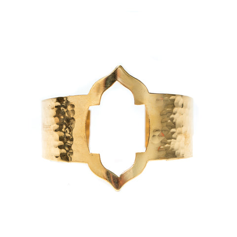 Gold brass cuff with rustic finish, and hammered detail,  inspired by the windows and architecture of India.