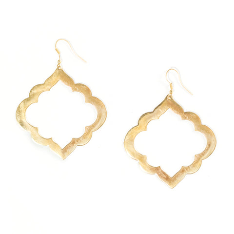 Gold brass earrings inspired by the windows and arches of Indian architecture. Very unique and eye-catching danglys!