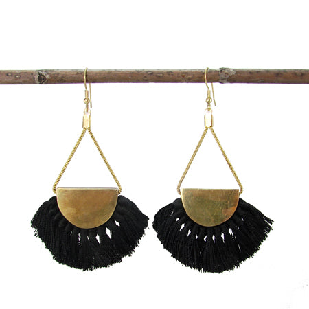 Make a statement with these half-moon brushed brass and black fringe earrings that are uber-chic! Hand-made in India.