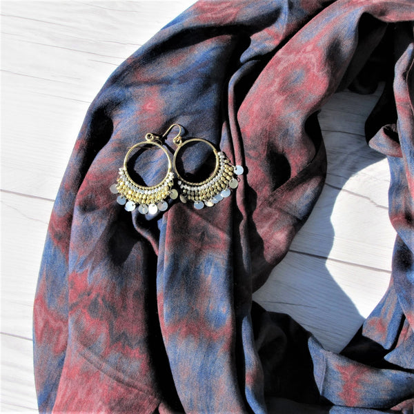 Maisha RefuSHE Scarf-Plum and Blue and Dripping Disc Earrings Collection