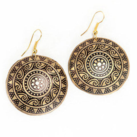 Sun Medallion Earrings - Gold