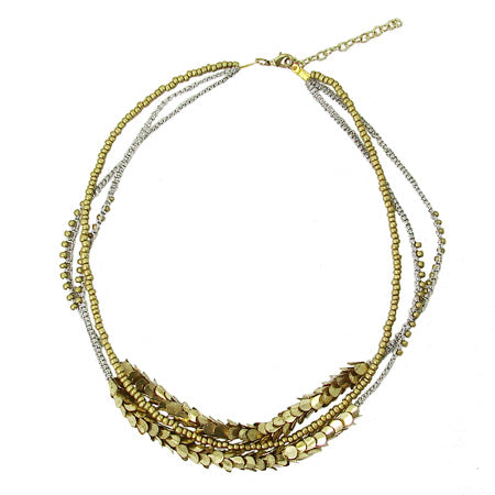 "Eye-catching and unique golden beads combined with crocheted metallic silver threads embellished with overlapping golden beads creating a laurel-like look. 17"" with a 2"" extender. Made in India. World Finds."