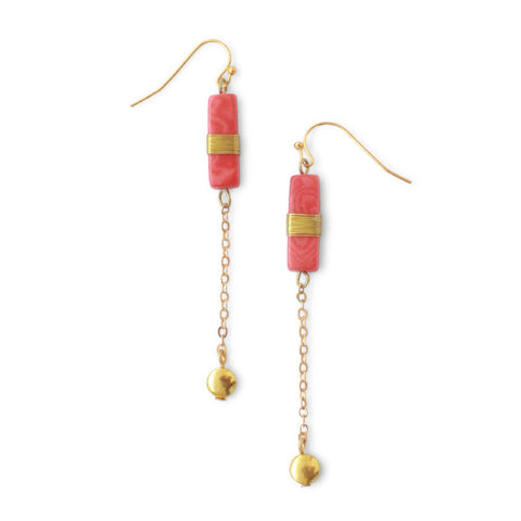 Madison Chain Earrings Coral