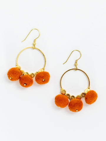 Pom Pom Earrings-Orange