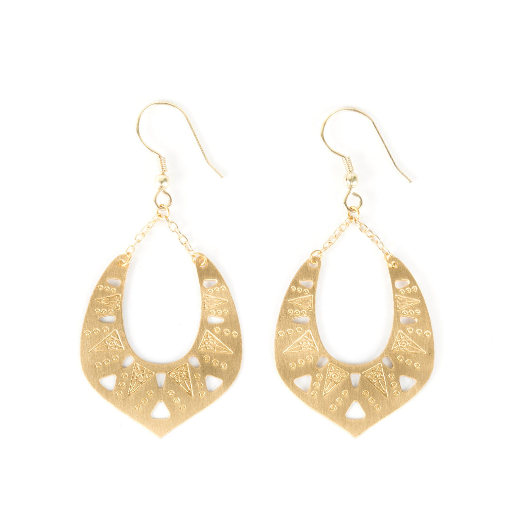 "Delicately beautiful gold-tone plated brass earrings catch the light and just the right length. 2.5"" long. Hand-made in India."