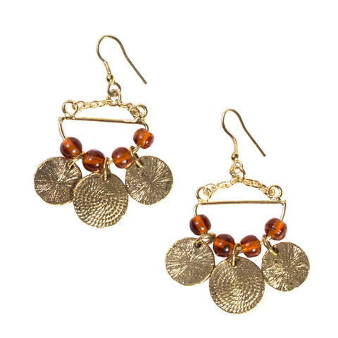 Market Coin Earrings Brown