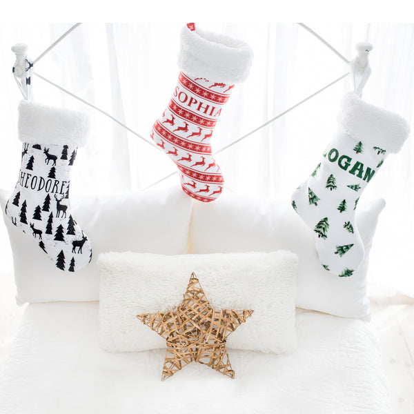 Personalized Stocking - Monochrome Christmas
