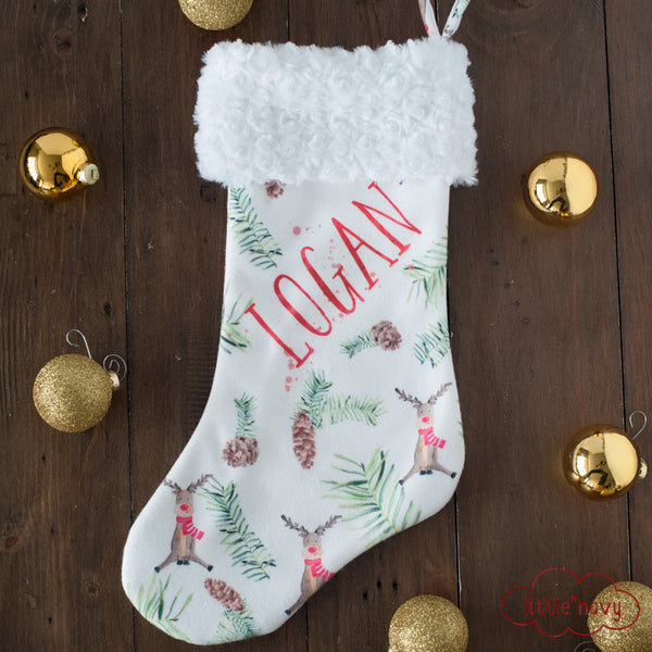 Personalized Stocking - Rustic Reindeer