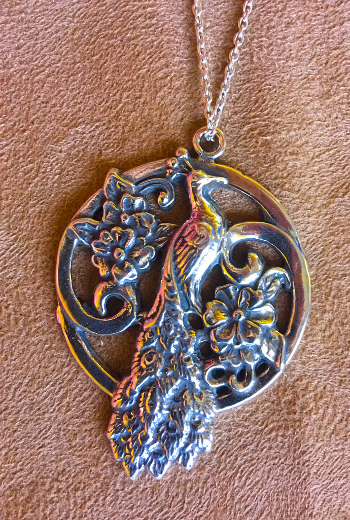 SALE!!! Peacock Sterling Silver Pendant Necklace