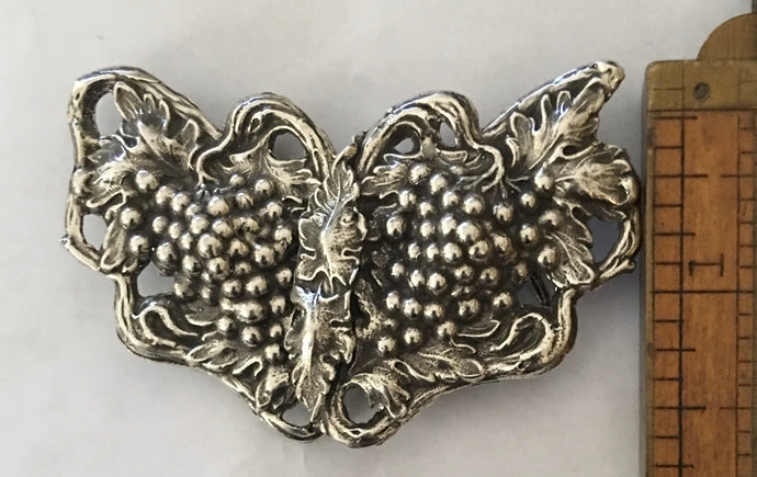 Gorgeous Art Nouveau Sterling Silver belt buckle grapevine design