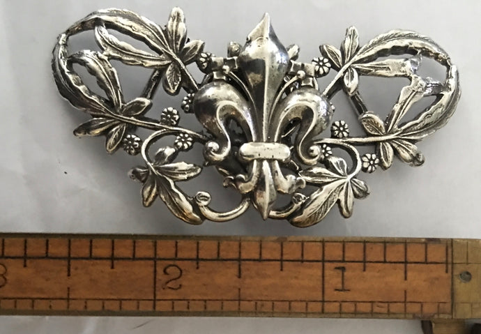 Beautiful Art Nouveau Fleur de Lis Sterling Belt Buckle