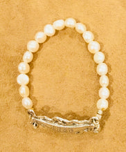 Baby Bracelet French Art Nouveau reproduction with freshwater pearls