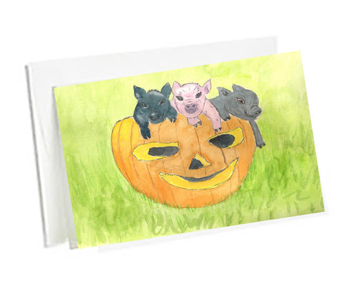 Halloween  Art Note Cards Teacup Pigs-Three Pigs In  a Pumpkin