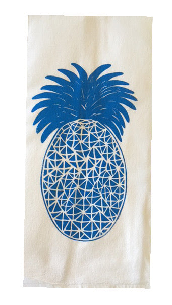Two Pineapple Silk Screened Flour Sack Dish Towels-Swiss Blue