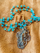 "Mermaid pendant necklace "" Arielle"" French  Art Nouveau with Apatite Chain"