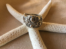 Art Nouveau Chrysanthemum Spoon Ring size 10, heavy