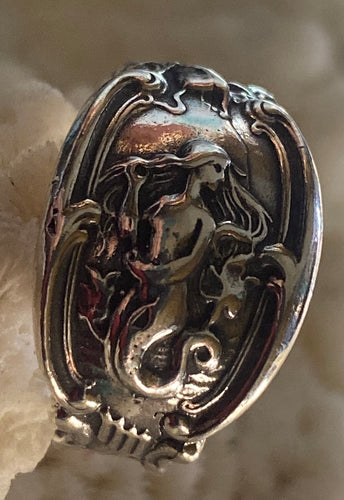 Mermaid Spoon Ring in Sterling 8 Adjustable, reproduction