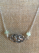 Art Nouveau Necklace Goddess wave swimming sterling silver fluorite stones