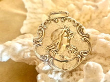 Sterling silver Copy of Worcester Salt Company Watch Fob, Art Nouveau era beauty with flowing hair