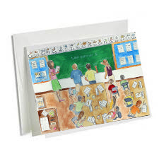 6 Art Note Cards Back to School-3.5 x 5