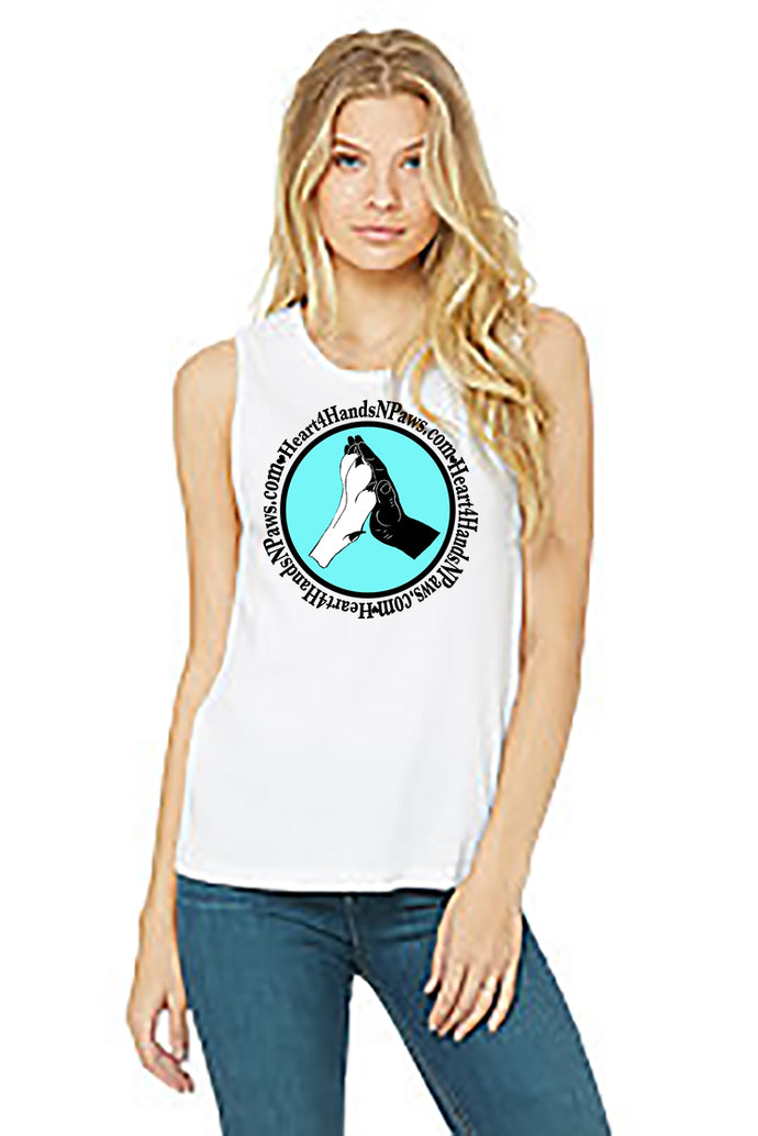 Ladies Muscle Tank-Heart4HandsNPaws