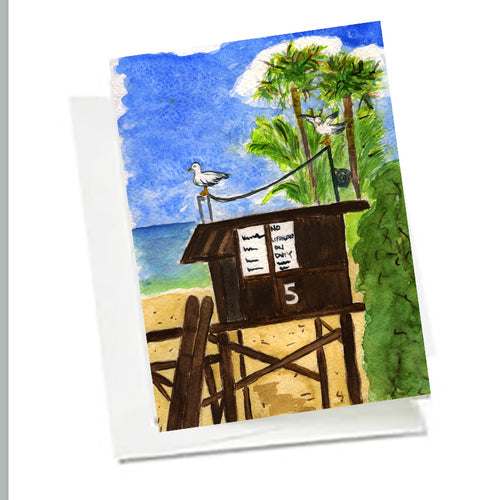 6 Art Note Cards -Lifeguard Tower 5