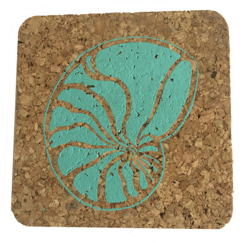 Nautilus; Beach Hostess gift/BBQ/ picnic/party/cork/Coastal Cork Coasters - Set of 4 Turquoise