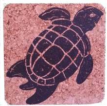 Sea Turtle-Coastal Cork Coasters-Hostess Gift/Party/Home Decor-White