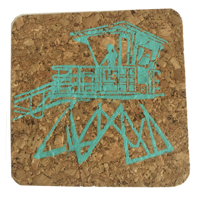Cal State Lifeguard Tower; Coastal Cork Coasters - Set of 4, Aqua