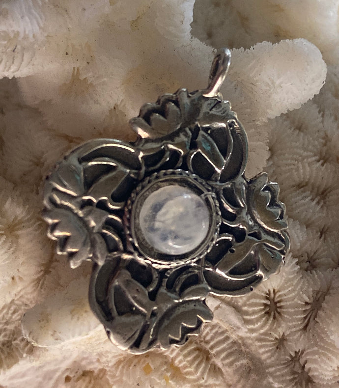 Lotus Flower pendant necklace beautiful Art Nouveau with Moonstone cabachon