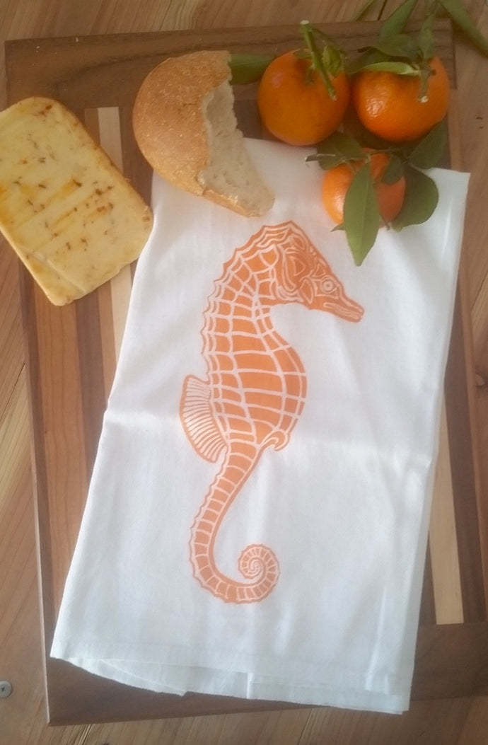 2 Sea Horse Flour Sack Dish Towels custom designed-Orange