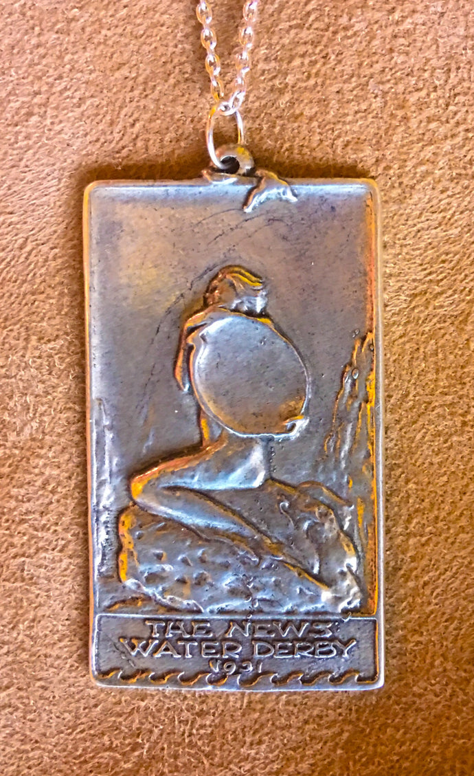 Art Nouveau Pendant Necklace News Water Derby Mermaid