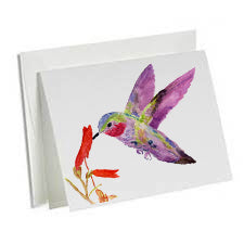 6-Art Note Cards-Hummingbird 1