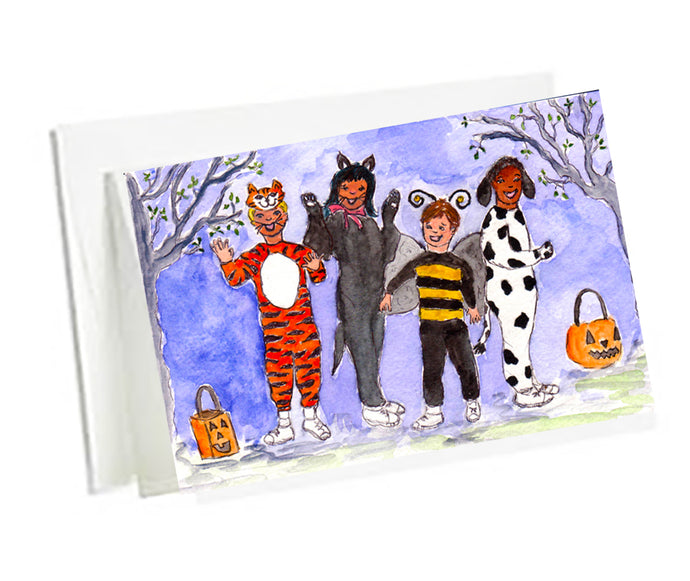 Halloween  Art Note Cards -Halloween Kids set of 6 3.5 x5