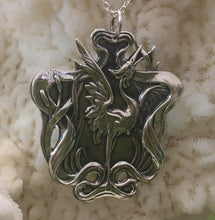 Sterling Silver Heron and Cat Tails Art Nouveau Reproduction Pendant