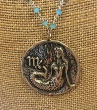 "Sterling Mermaid, ""M"" (Virgo?) Pendant Necklace with Chalcedony wire wrap chain"
