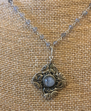 Sterling Silver Lotus Flower with labradorite cabachon and silver wire wrap chain