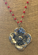 Beautiful Art Nouveau Reproduction Poppy Pendant Necklace w/coral