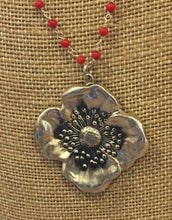 Beautiful Art Nouveau Reproduction Poppy Pendant Necklace w/coral from collectable pin Unger Bros/Kerr